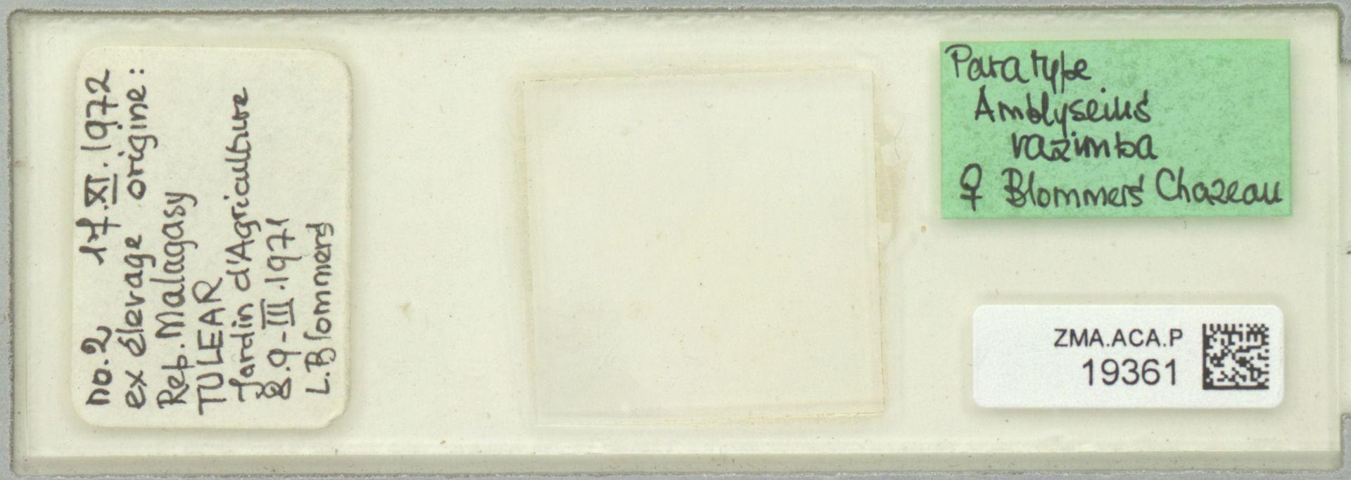 ZMA.ACA.P.19361   Amblyseius razimba Blommers & Chazeau